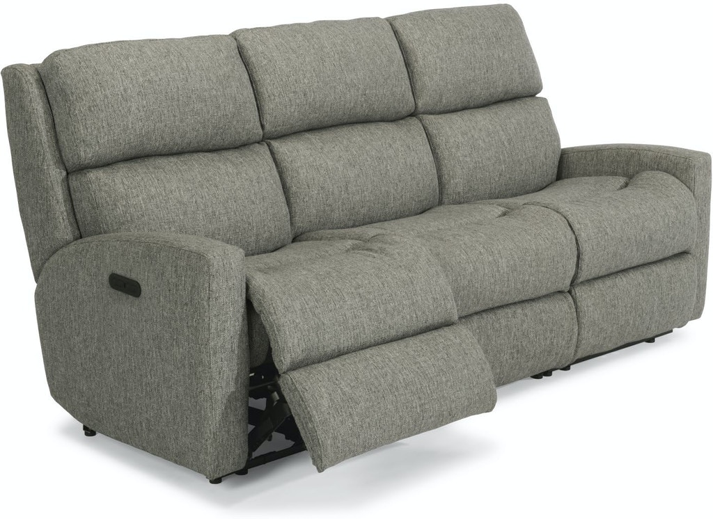 Flexsteel Living Room Fabric Power Reclining Sofa With Power Headrests 2900 62h