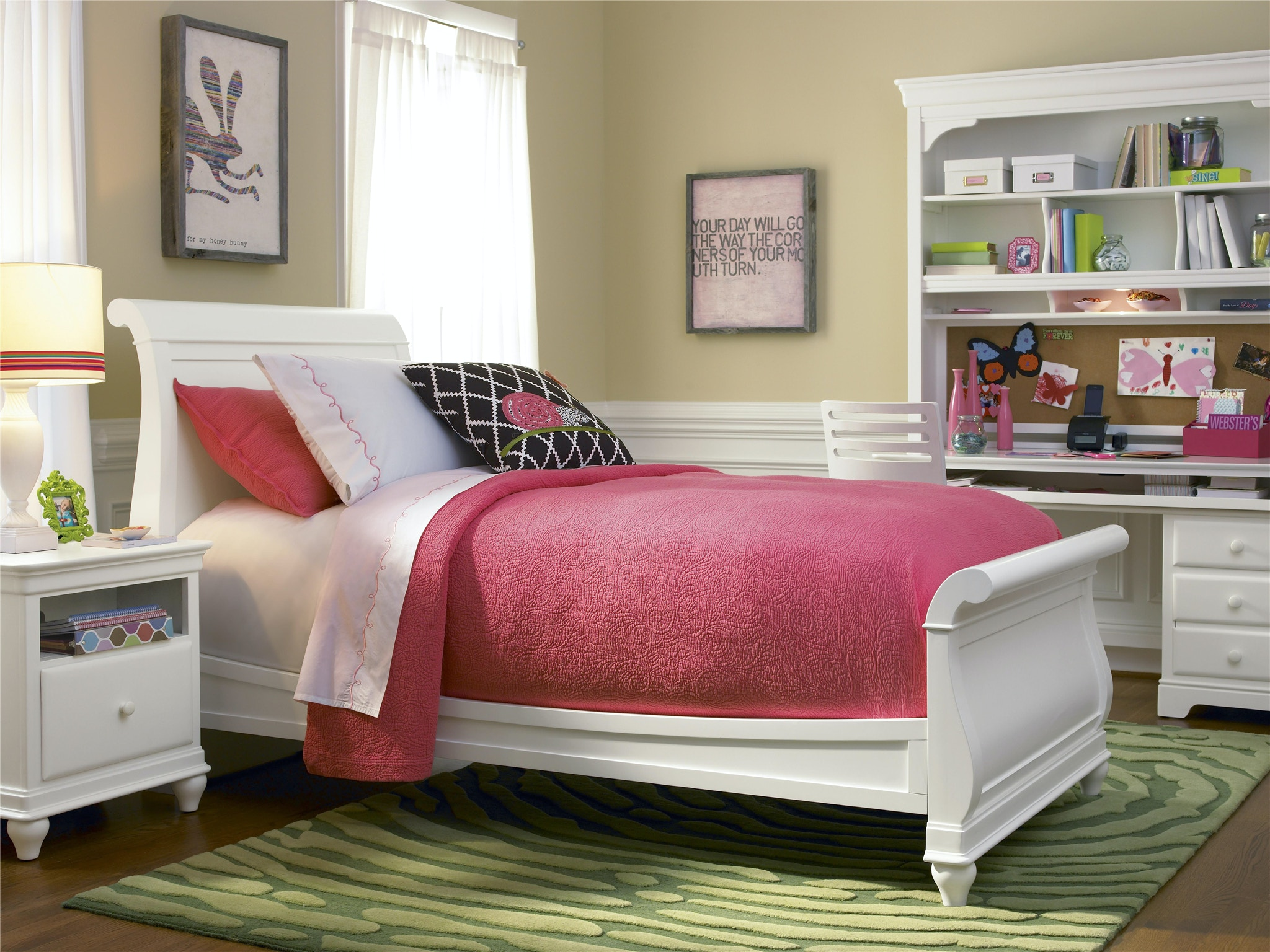 smartstuff by universal summer white sleigh bed twin 131a036