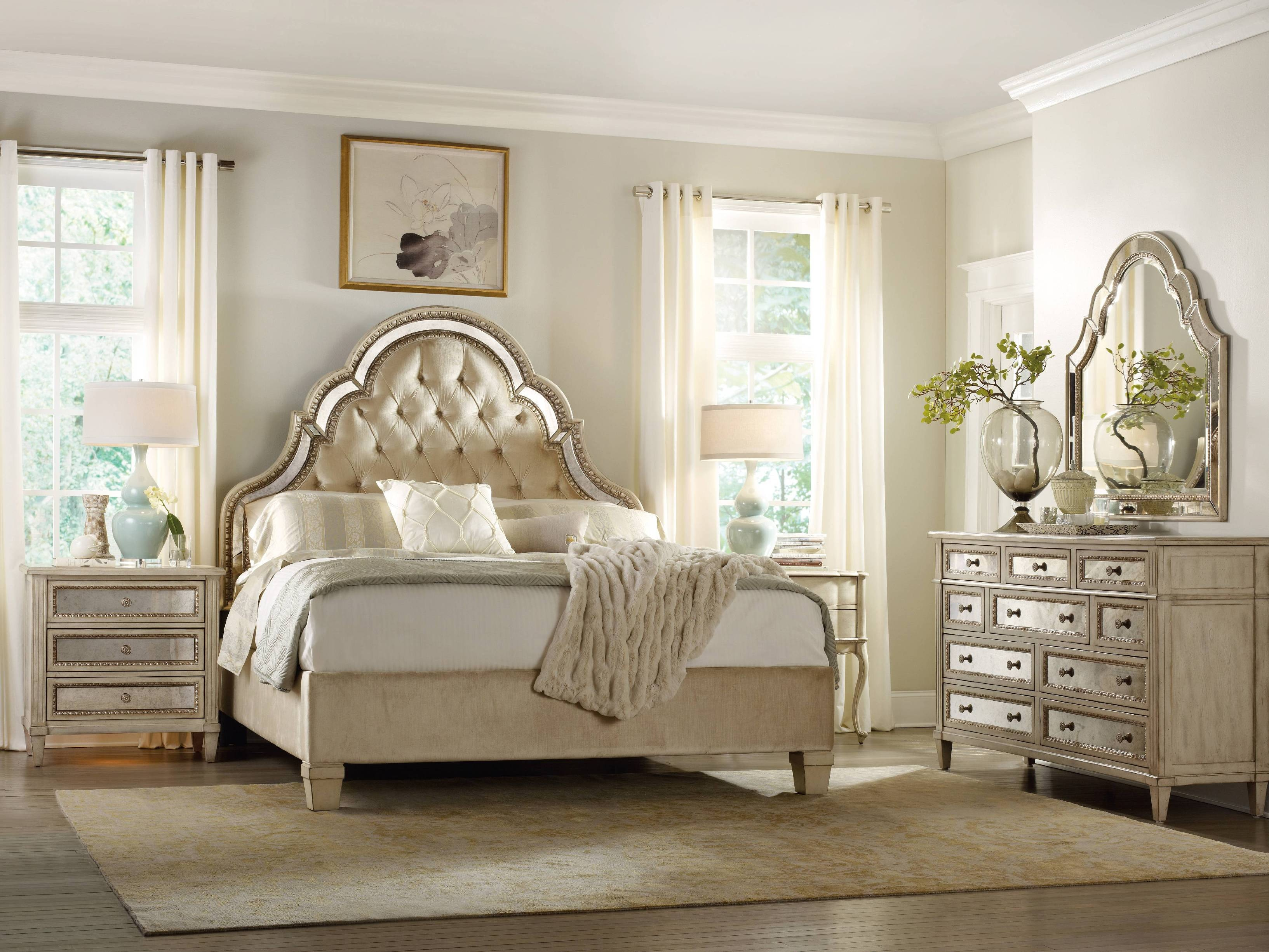 Hooker Furniture Sanctuary King Tufted Bed Pearl Essence 3023 90866
