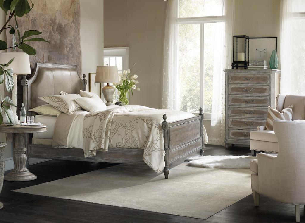 d052b4a46df74 Hooker Furniture True Vintage King Leather Upholstered Poster Bed 5701 -90666C