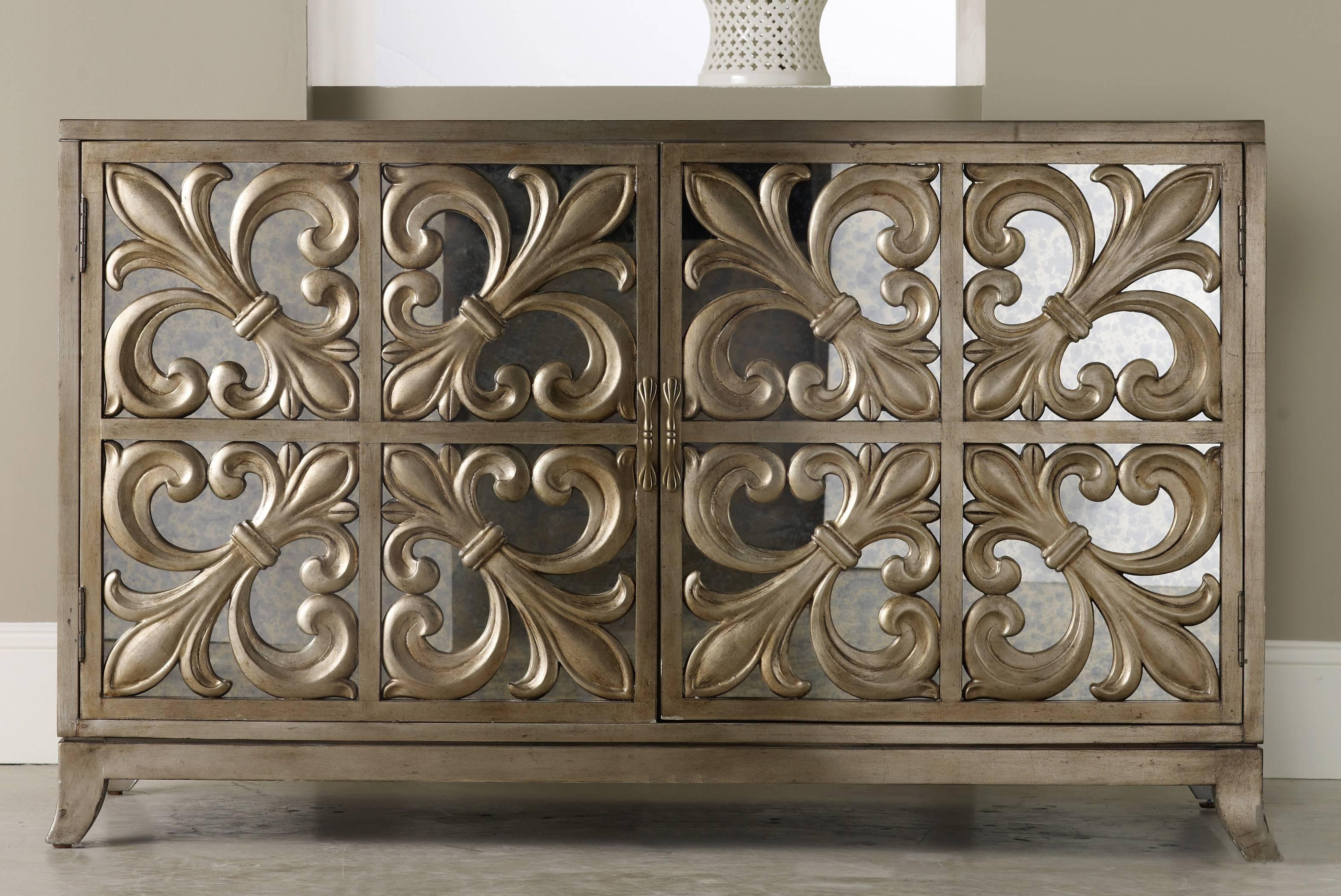 Hooker Furniture Melange Fleur De Lis Mirrored Credenza 638 85057