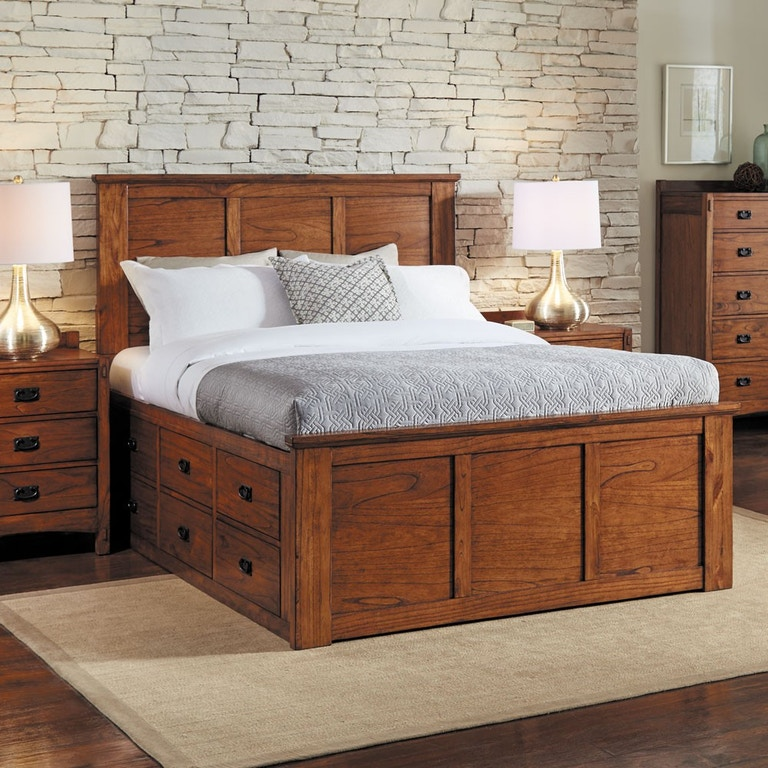 A America Bedroom Mission Queen Captain Bed Solid Wood