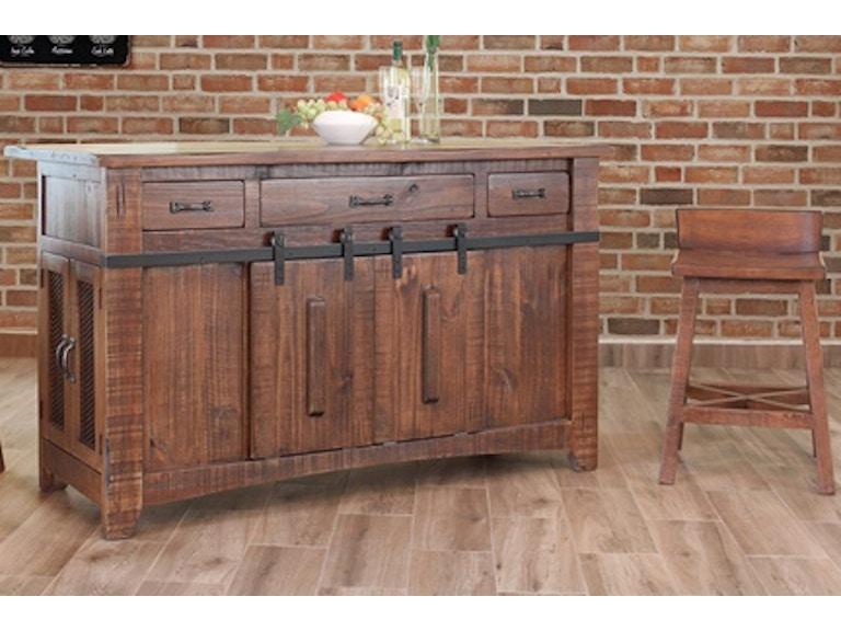International Furniture Direct Kitchen Island W/3 Drawers Pueblo ...