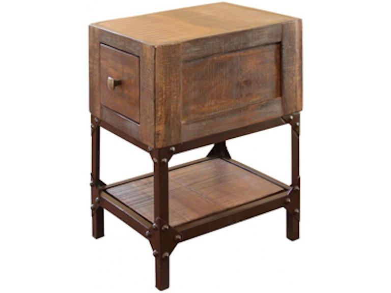 International Furniture Direct Chairside Table W 1 Drawer Urban Gold 581911