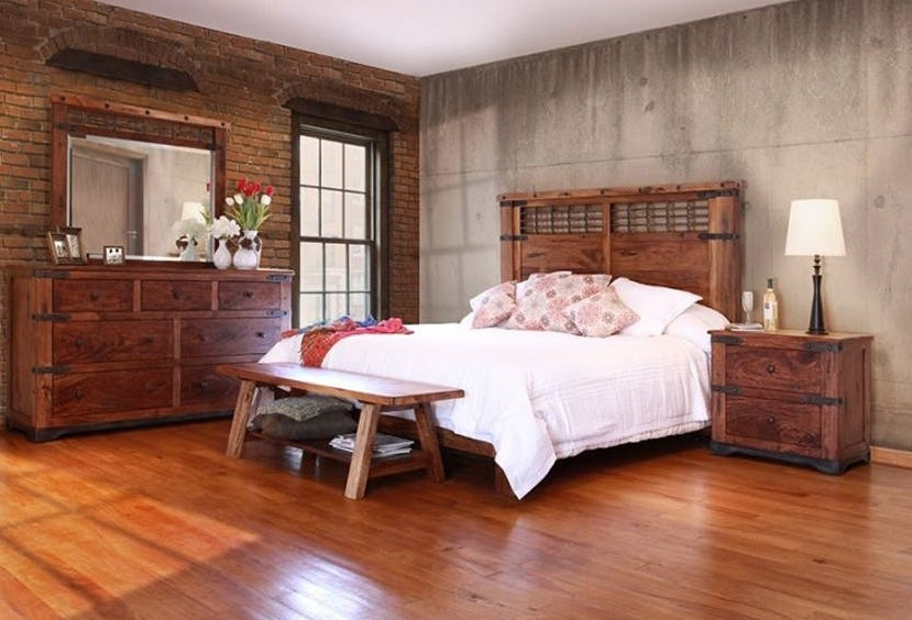 International Furniture Direct Cal King Panel Bed Parota 844709P