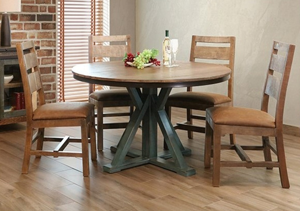 International Furniture Direct Table 51 RD Ped Antique Teal 096911P