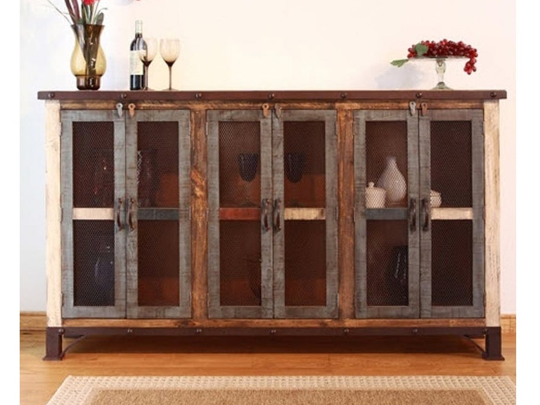 Console 71 W 6 Mesh Door Antique Multicolor