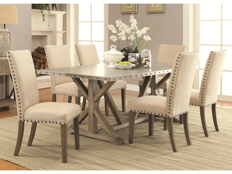 Coaster Dining Room Table 40x84 Trestle Metal Top Webber 942892