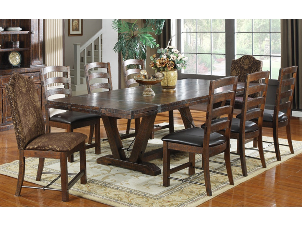 Home Furnishings Emerald Home Furnishings Dining Room Table 44x84 Trestle W 2 12lf