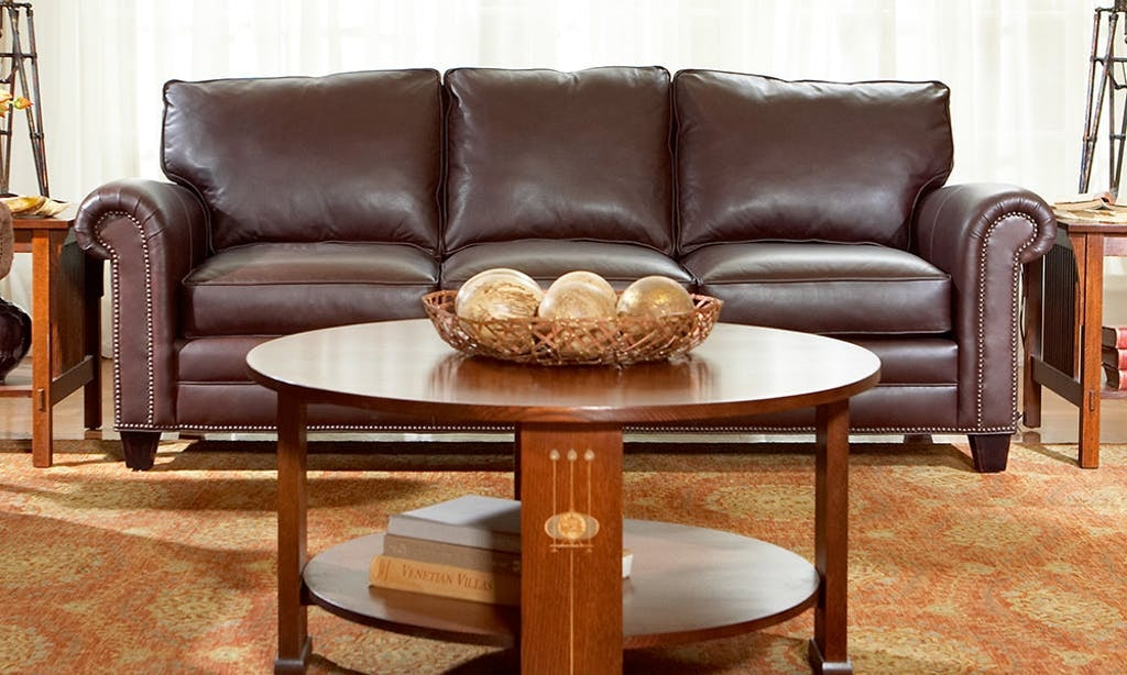 Stickley Living Room Sofa Leather Malden 810546 - Naturwood ...