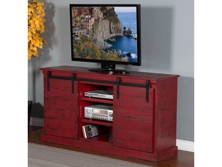 Sunny Designs Home Entertainment Console Tv 65 Burnt Red Barn Door
