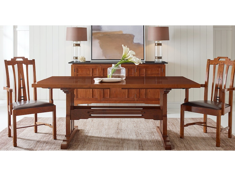 Stickley Dining Room Table 42x76 Trestle W/2 15LF San Marino ...