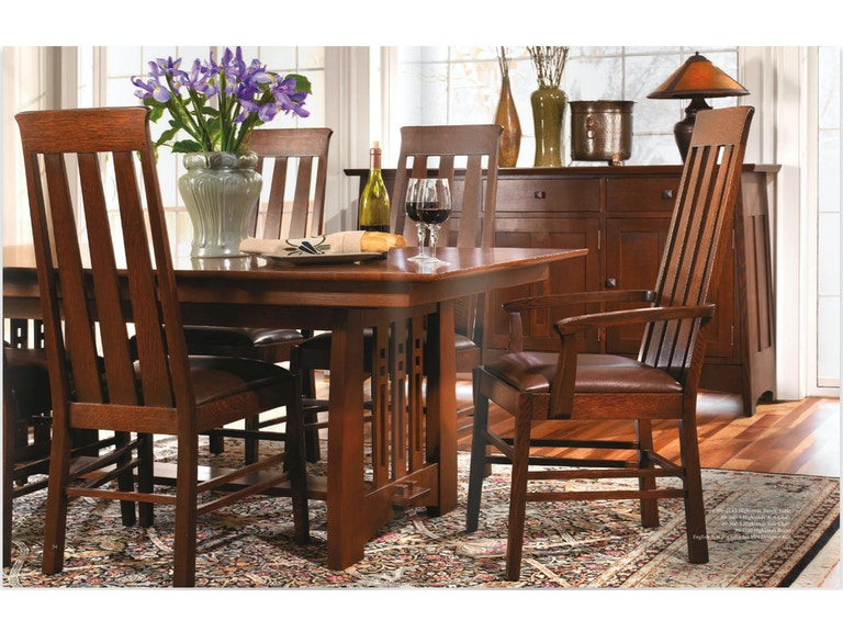Stickley Dining Room Table 44x78 Trestle W/2 18LF Highlands ...