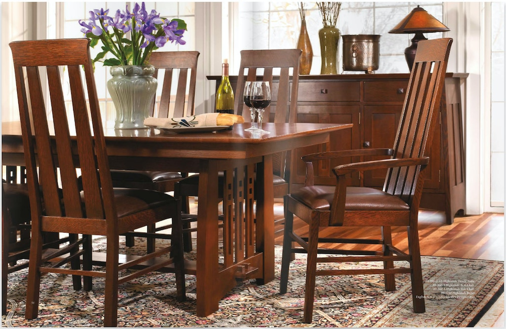 Stickley Dining Room Table 44x78 Trestle W 2 18lf Highlands