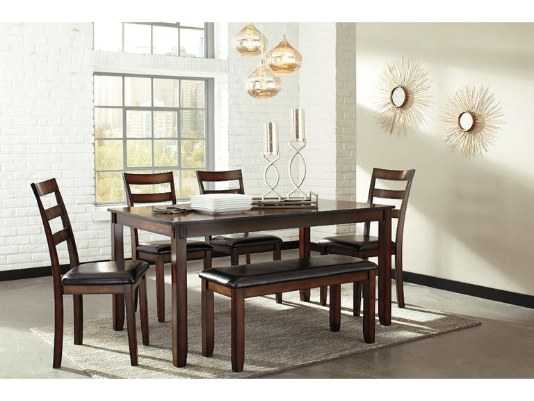 ebc53ac7ec8509 Ashley Coviar Dining Room Table and Chairs with Bench (Set of 6) D385-
