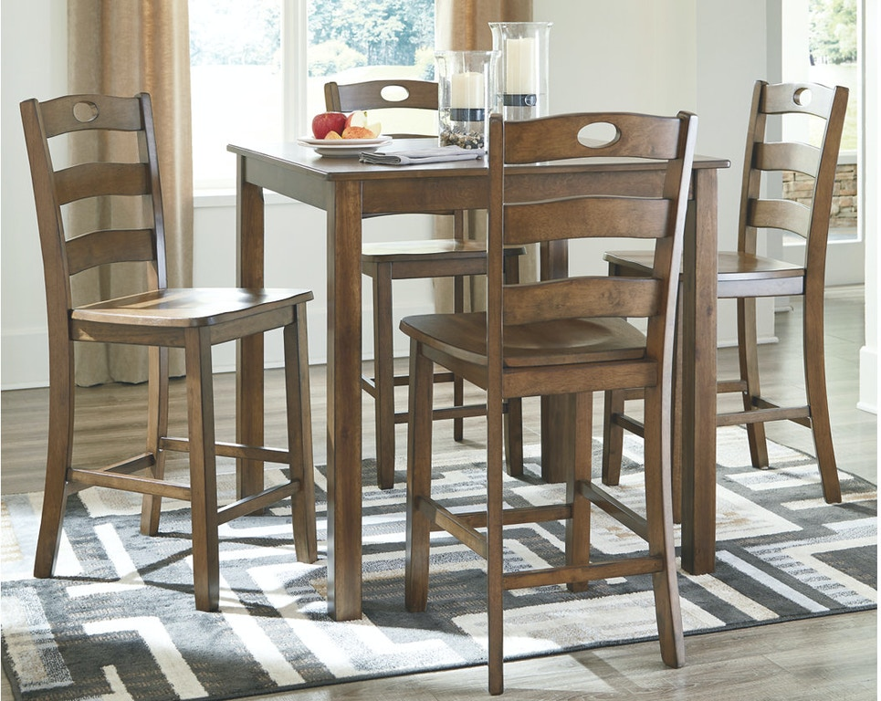 Ashley Hazelteen Counter Height Dining Room Table And Bar Stools