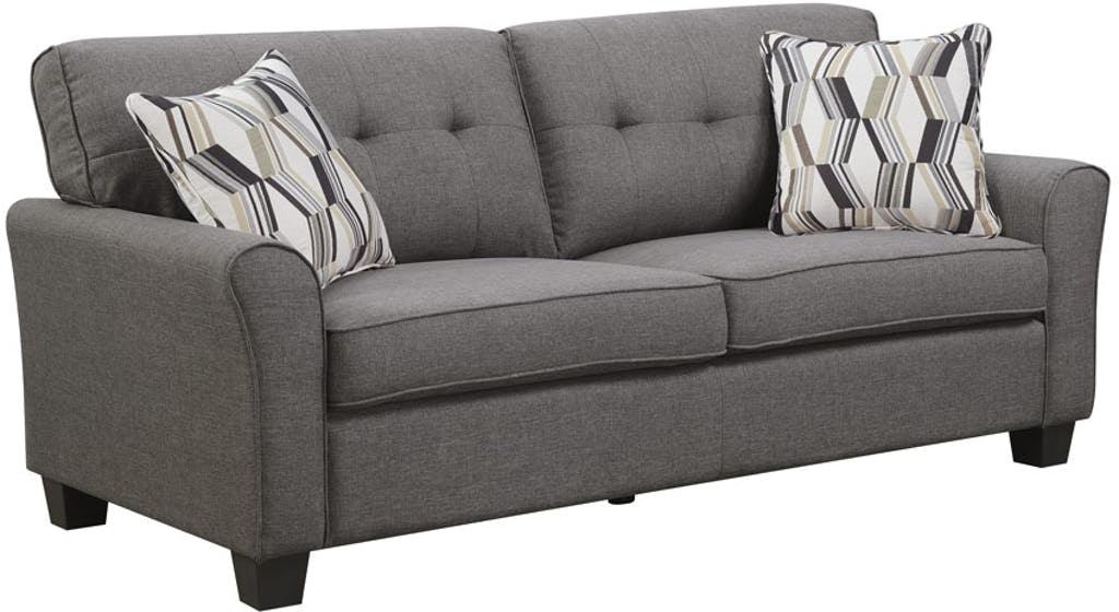 Sofa Espresso With 2 Accent Pillows