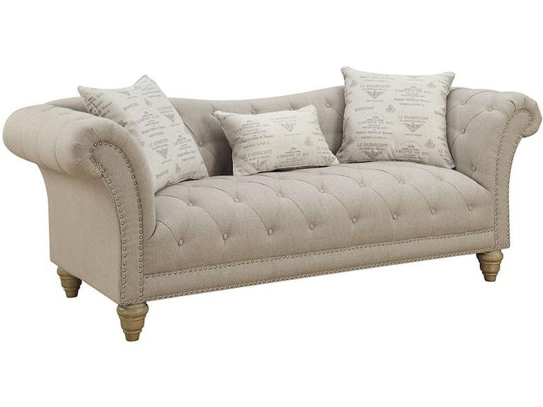 Emerald Home Furnishings Sofa Nailhead W 3 Pillows U3164 00 09 In Portland