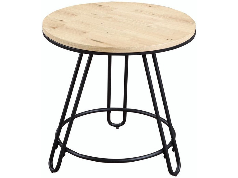 Round End Table Wood Top Metal Base Rta