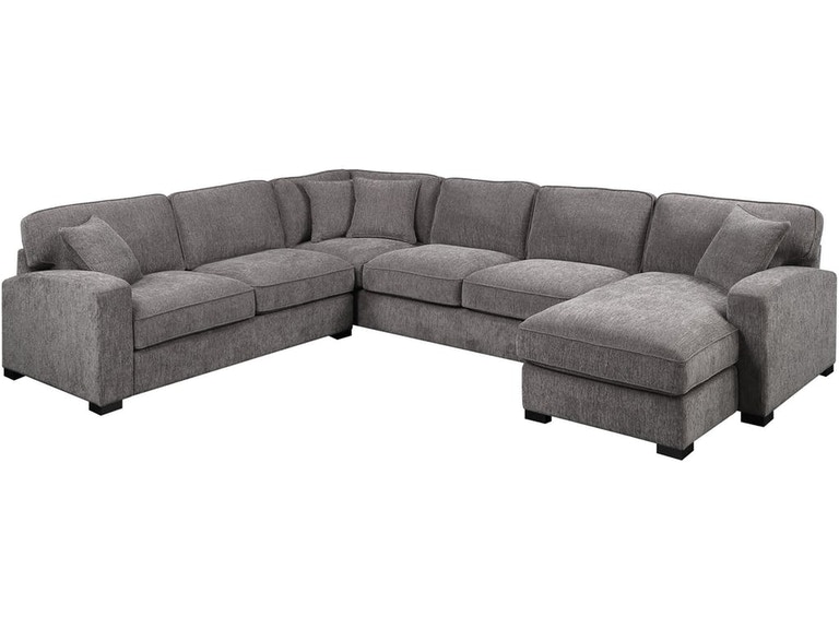 3PC Sectional w/4 Pillows Charcoal