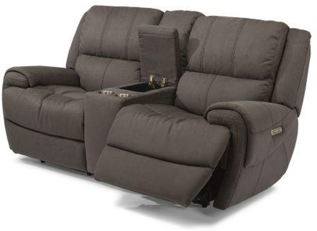 Flexsteel Fabric Power Reclining Loveseat With Console And