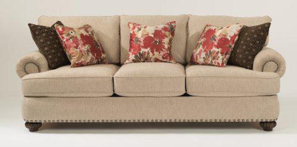 Flexsteel Fabric Sofa With Nailhead Trim 7322 31