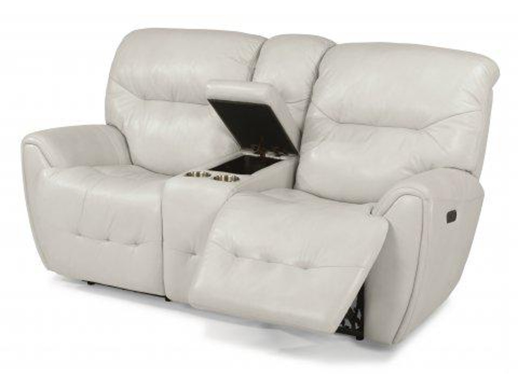 Flexsteel Blaise Leather Power Reclining Loveseat With Console And Power Headrests 1573 64ph