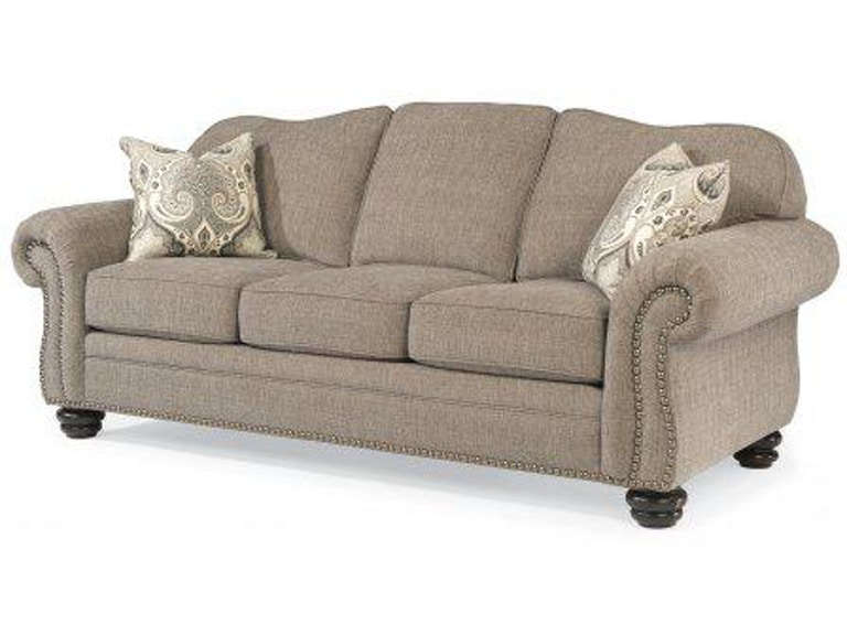 Flexsteel One Tone Fabric Sofa With Nailhead Trim 8648 31