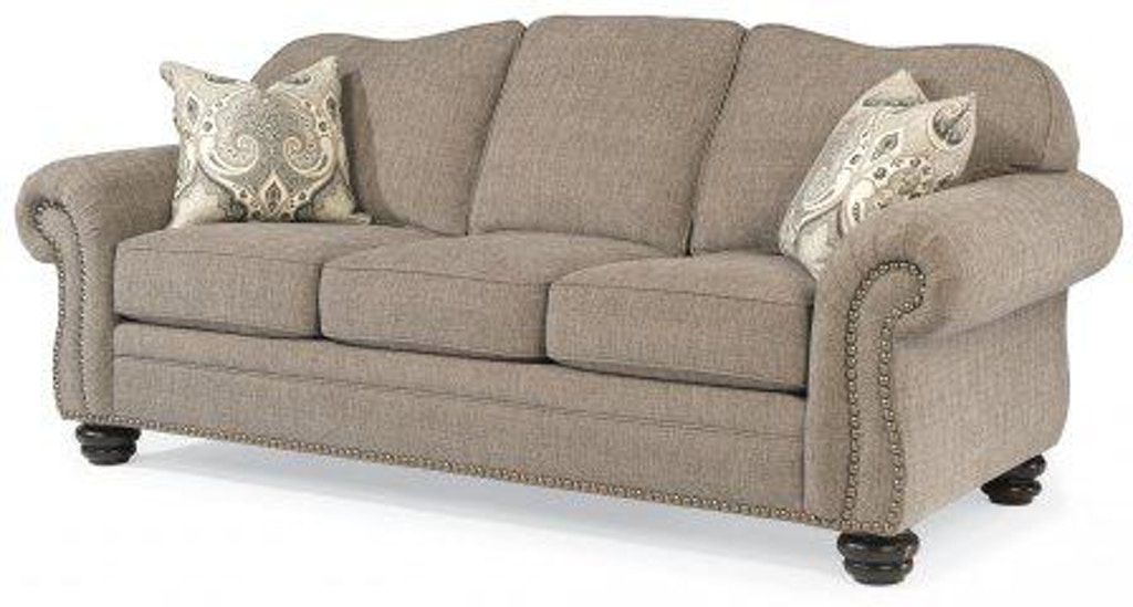 Flexsteel One Tone Fabric Sofa With Nailhead Trim 8648 31