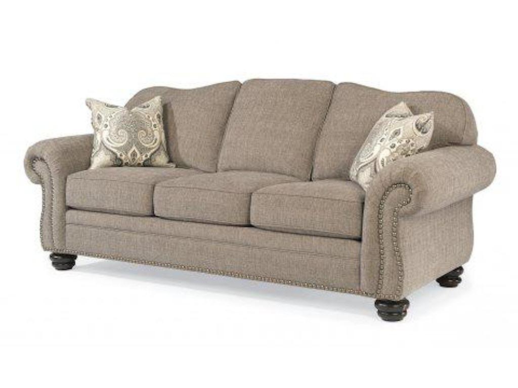 Flexsteel Bexley One Tone Fabric Sofa With Nailhead Trim