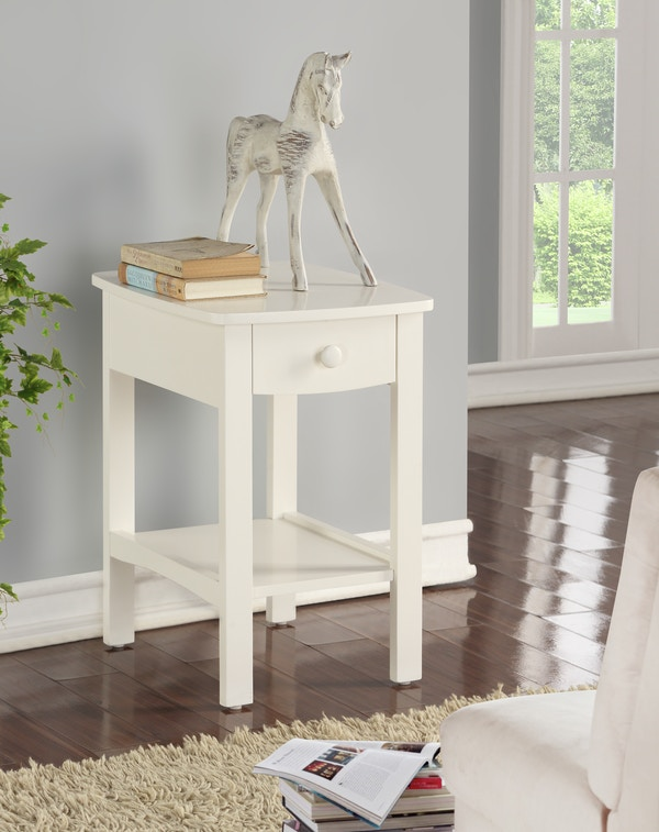 Emerald Home Home Decor White 1-Drawer Nightstand
