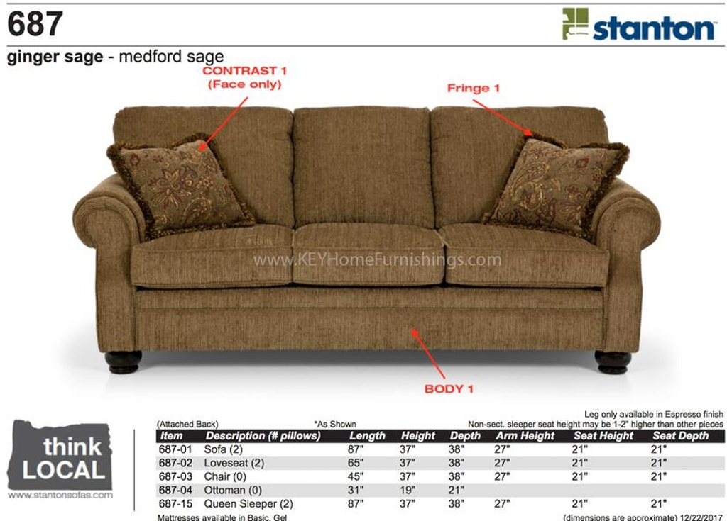 Stanton Furniture Sofa 68701 In Portland Oregon