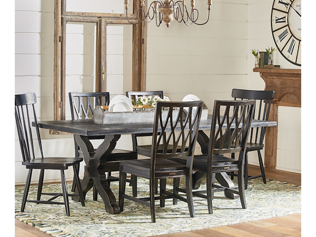 Magnolia home dining room sawbuck dining table setting for Magnolia dining table