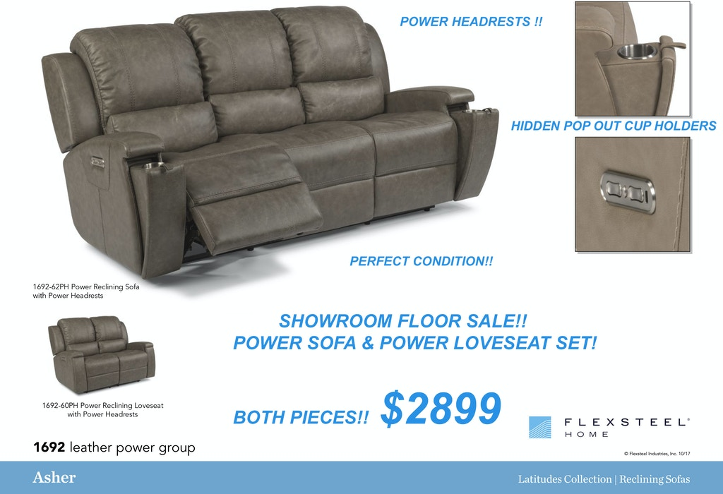 Leather Power Sofa and Love Set.