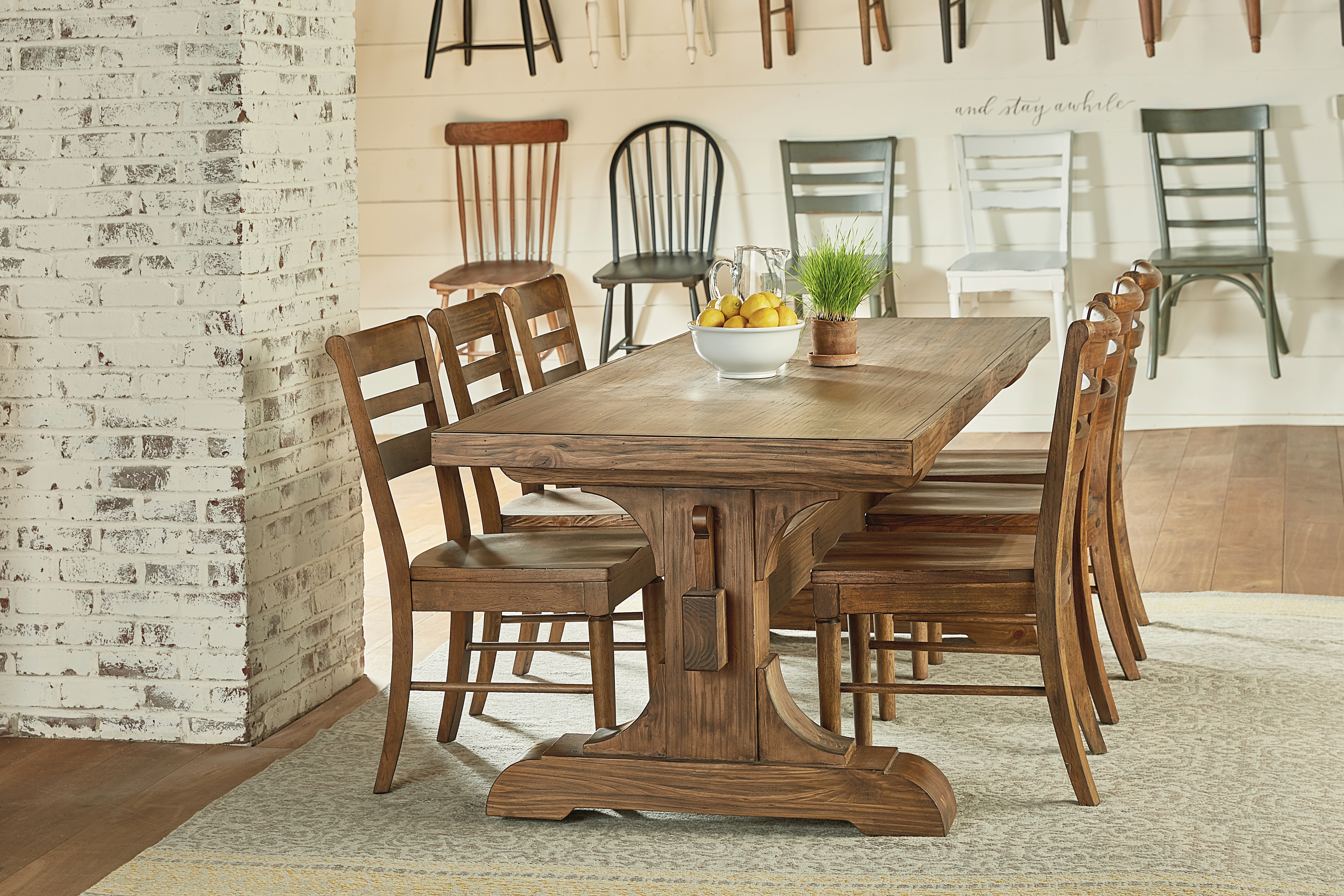 Magnolia home keyed trestle table setting table with 6 chairs 6010501r table setting