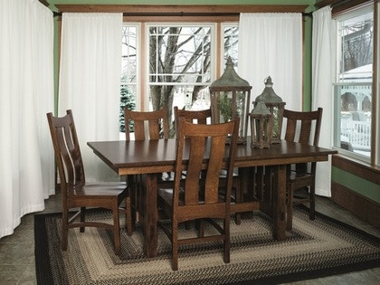 Fusion Amish Solid Quartersawn Oak Hardwood Dinette Goshen Essentials