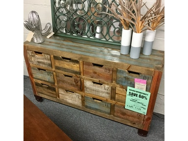 Clearance Console with Numbered Drawers on Casters 95900