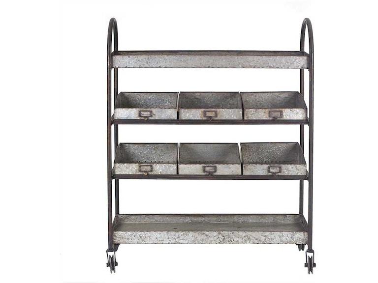 Creative Co Op Metal 4 Tier Cart On Casters With 6 Bins Da3656