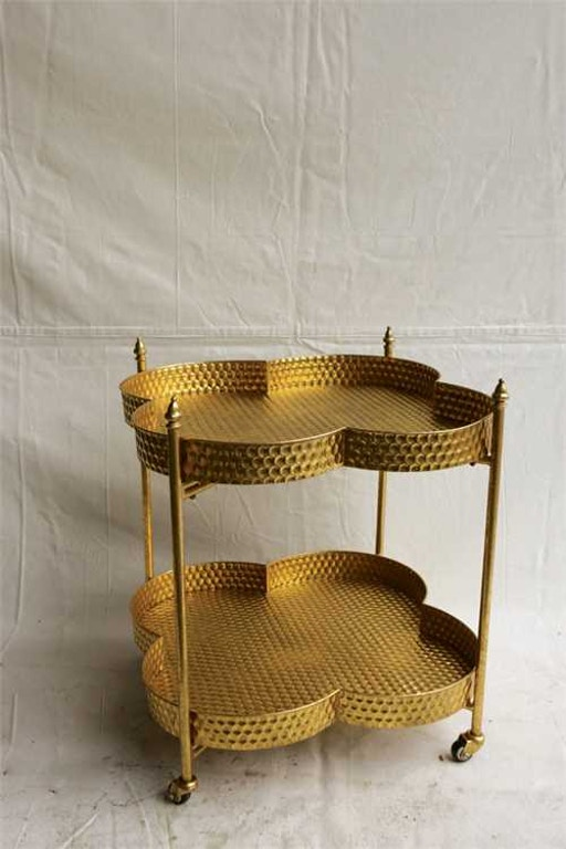 Creative Co Op Metal Clover Shape Bar Cart Gold Finish Da4371