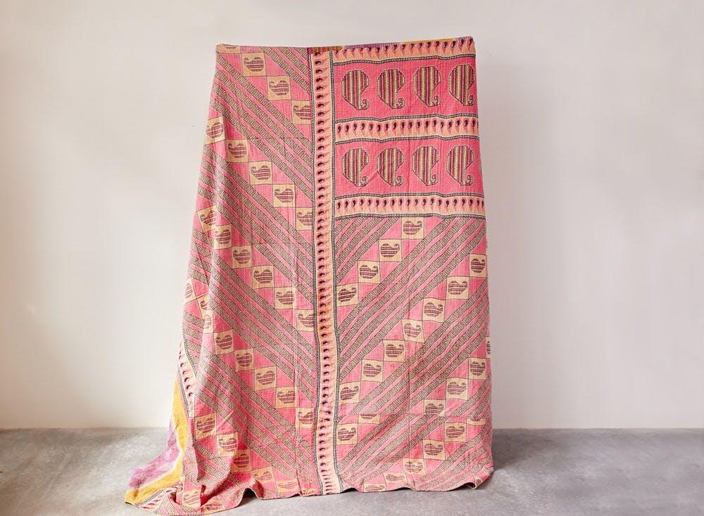 Creative Co Op 86x86 Square Cotton Vintage Kantha Quilt Coverlet Da8016 Tin Roof Spokane Wa