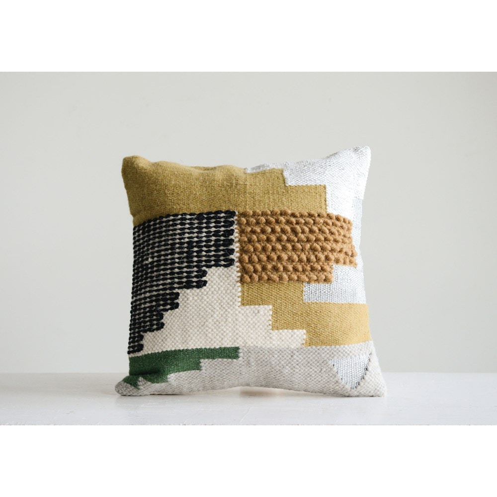 Charcoal Creative Co-Op Square Embroidered Bird Silhouette Cotton Pillow