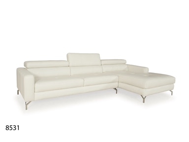 Futura Leathers This Contemporary Sectional has a unique ratchet headrest 8531
