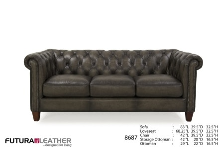Futura Leathers Living Room Traditional Leather Tufted Sofa 8687 McArthur Furniture Calgary