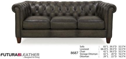 Futura Leathers Living Room Traditional Leather Tufted Sofa 8687 At  McArthur Furniture