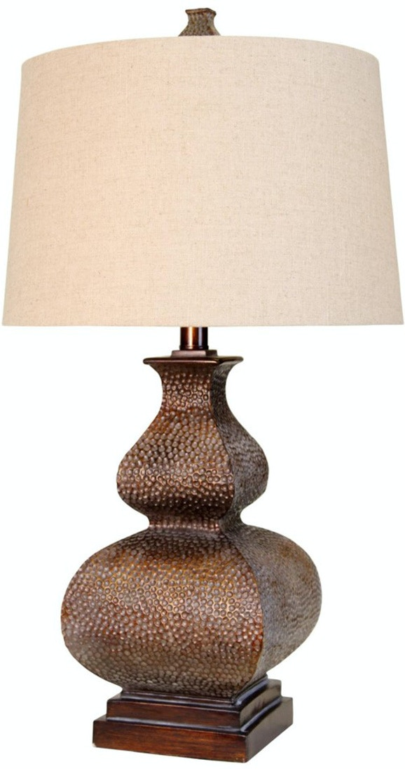 Stylecraft lamps lamps and lighting hammered bronze table lamp this traditional table lamp features a hammered bronze with patina copper finish and a natural linen round hardback shade hammered bronze table lamp 038928 mozeypictures Image collections