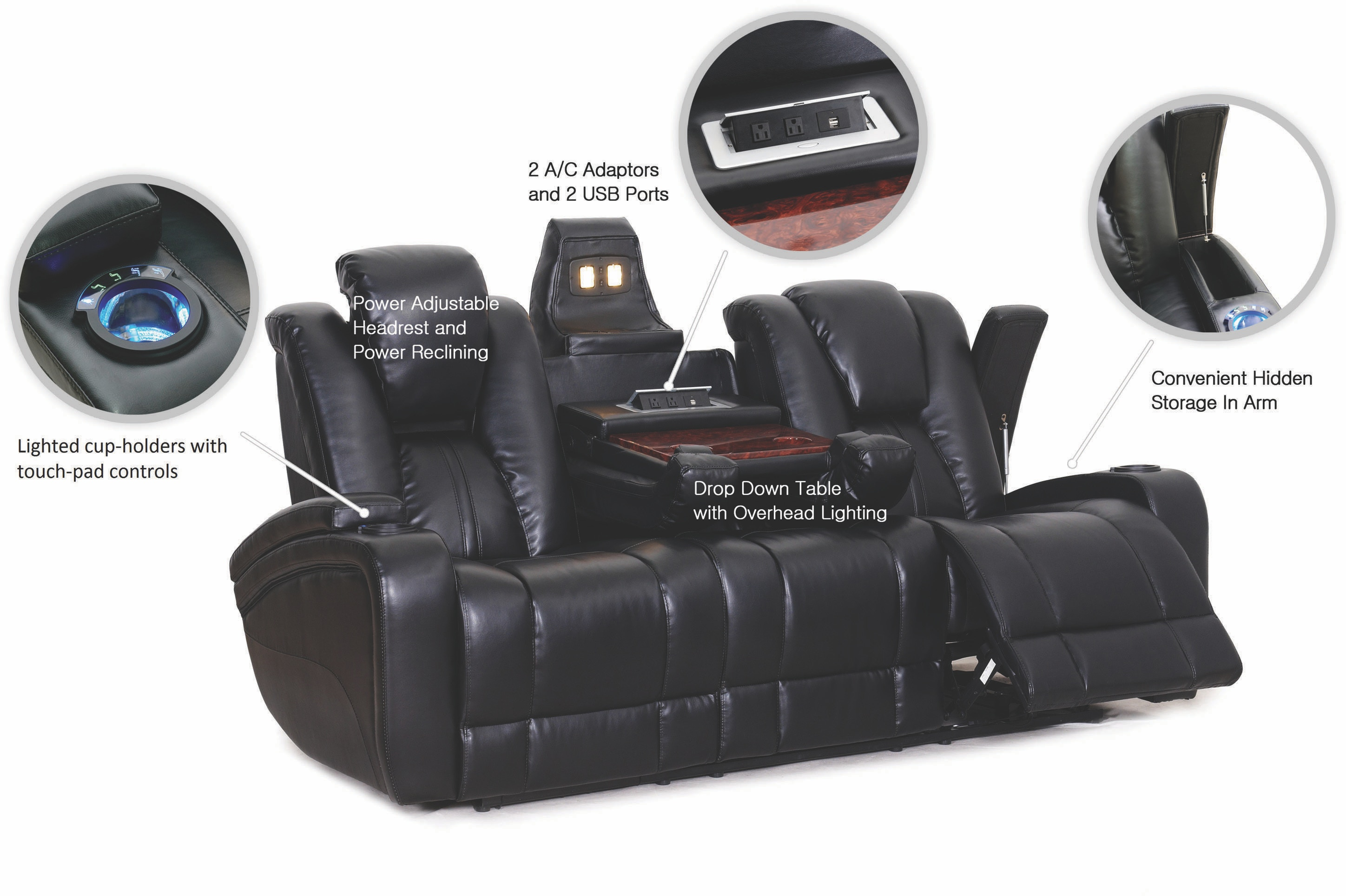 Synergy Home Furnishings Living Room Ebony Power Reclining Sofa
