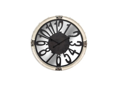 Antique White Mirrored Clock 043613