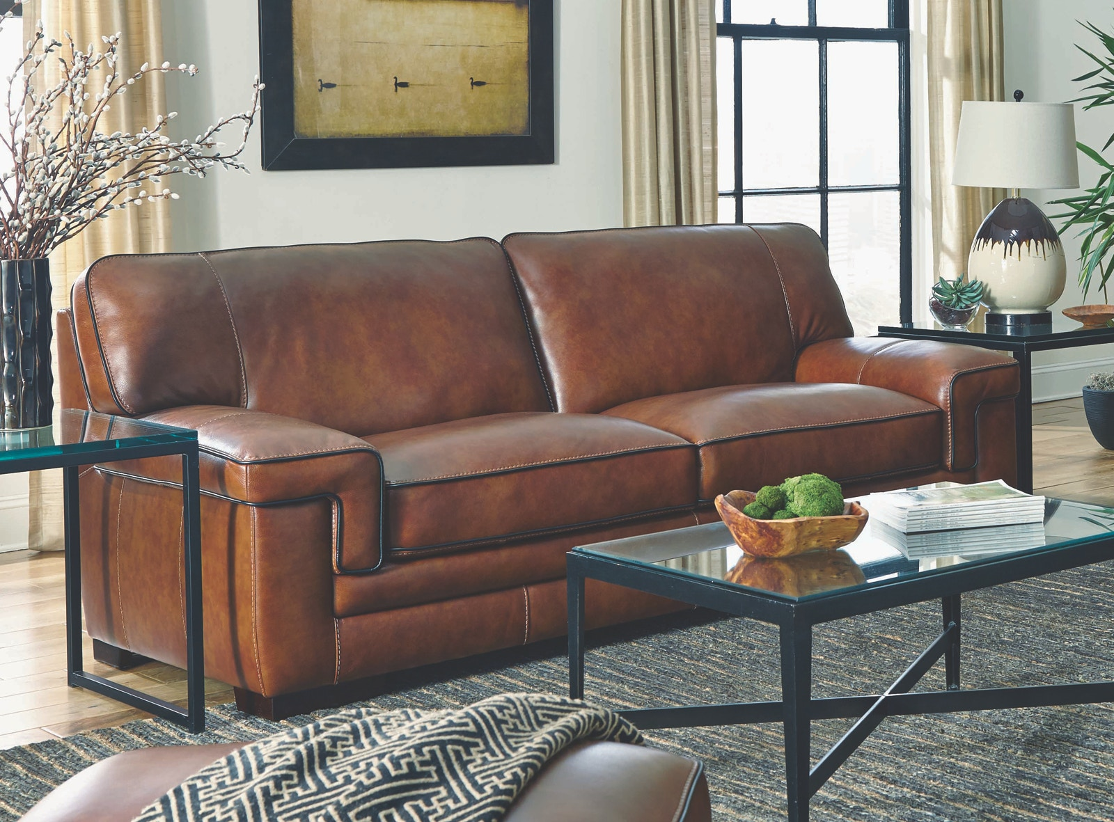 Simon Li Living Room Chestnut Leather Sofa