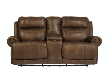Austere Reclining Loveseat with Console 048099