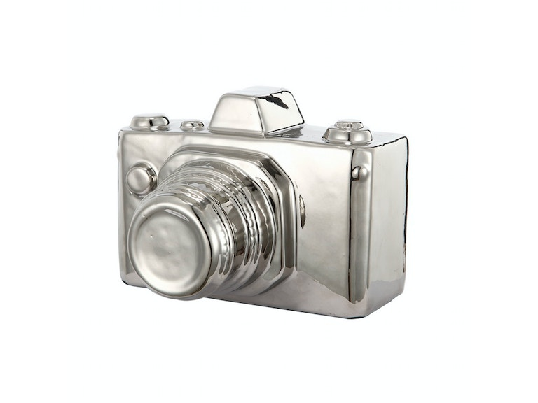 A&B Home Silver Metallic Ceramic Camera 048471